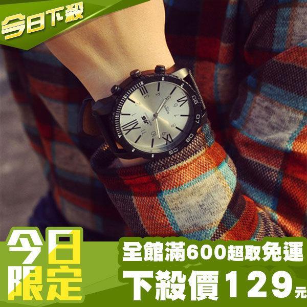 ~DIFF~ 羅馬錶 厚框超大錶面 數字刻度 金屬光澤 皮質錶帶 中性手錶 情侶錶 對錶