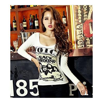 日韓風 加絨加厚長袖印花T恤~凱西娃娃