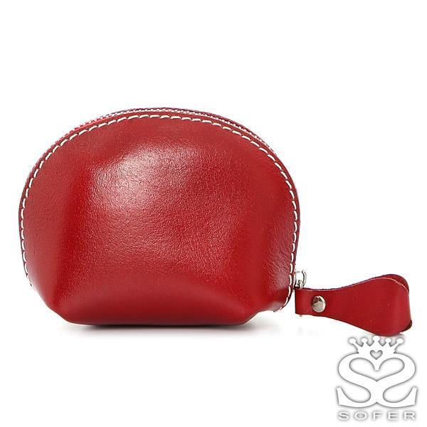 SOFER 全 義大利樹羔皮貝殼零錢包 - 琥珀紅
