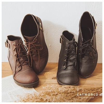 Catworld MIT 英倫風側扣環綁帶短靴~19000326~‧23 23.5 24