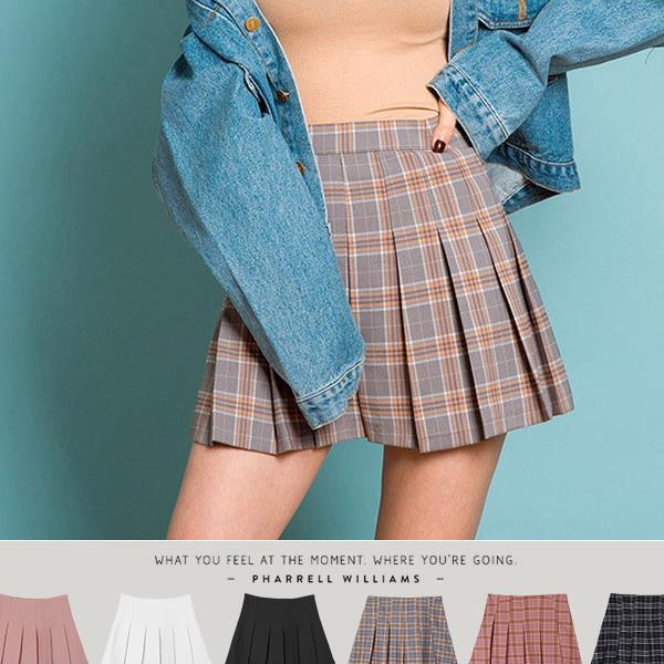 百款5折~ ~PUFII~褲裙 學院風格紋 素面百褶短裙褲裙 6色~ 0303 春~CP1
