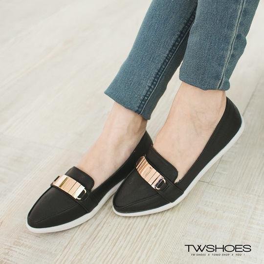 ~TW Shoes~金屬拼接平底紳士尖頭包鞋~K130A3207~
