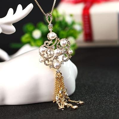珍珠項鍊毛衣鍊~ 奢華中國風鑲鑽情人節生日 女飾品2色73gc154~ ~~米蘭 ~