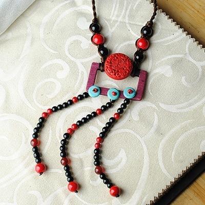民族風漆雕毛衣鍊~ 編織復古氣質母親節情人節生日 女飾品73hf57~ ~~米蘭 ~
