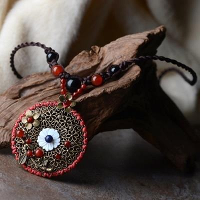 民族風瑪瑙毛衣鍊~ 編織天然貝殼項鍊母親節情人節生日 女飾品73hf8~ ~~米蘭 ~