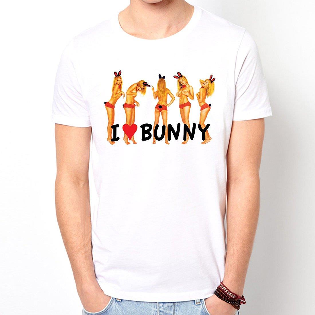 I Love Bunny短袖T恤~白色 趣味幽默 插畫裸女潮流情色KUSO樂團玩翻