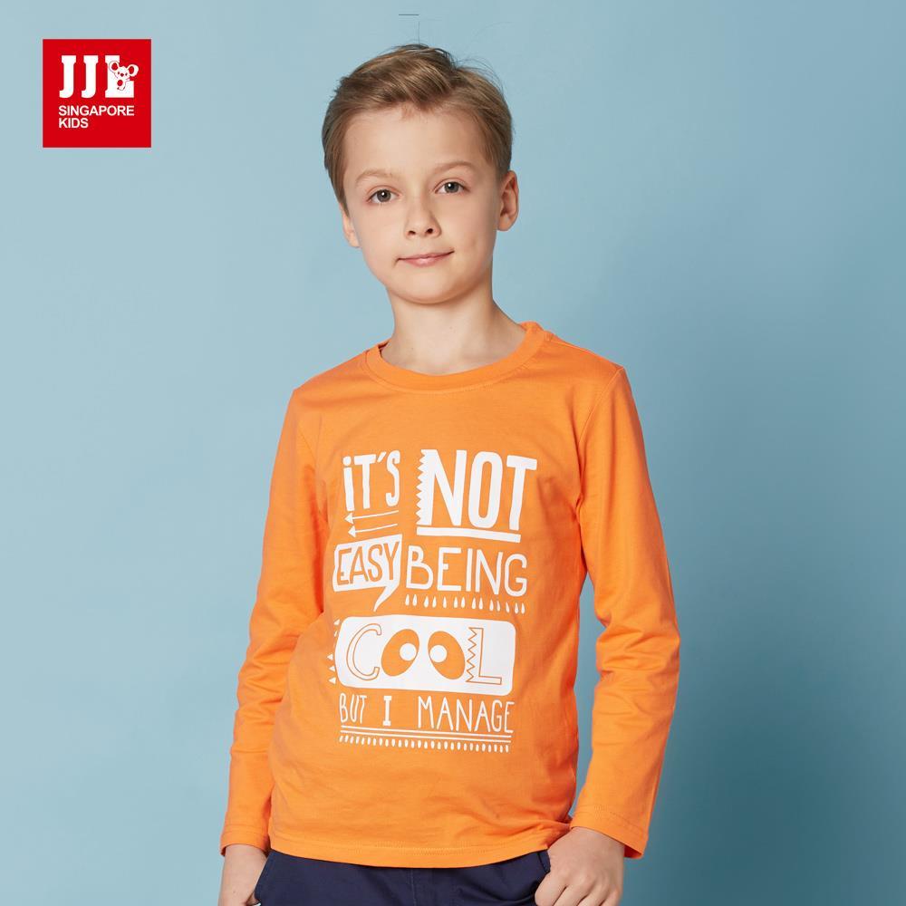JJLKIDS 英倫俏皮字母印花純棉T 橙色