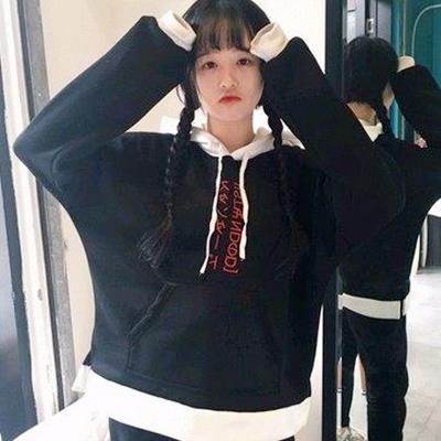 EASON SHOP^(GU0222^)韓國撞色拼接日文 小清新加絨拼色刺繡字母寬鬆連帽T
