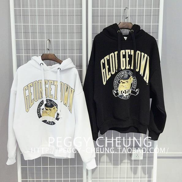 EASON SHOP GU0240  學院風卡通加絨女裝上衣連帽T恤套頭外套學生T恤大學T