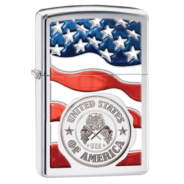 【Zippo】 American St On Flag High Polish Chrom