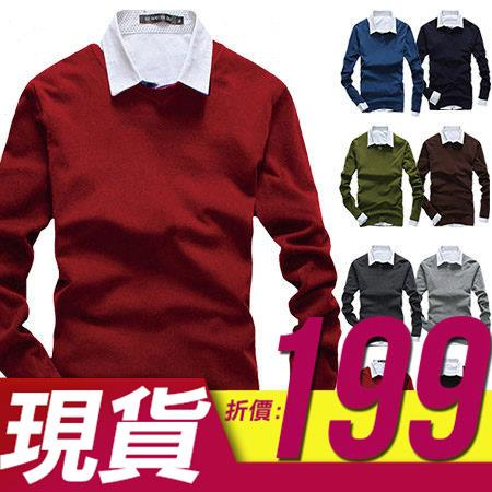 ~QTJBM01~日韓系英倫簡約百搭款素色舒適保暖 V領毛線針織衫毛衣‧八色