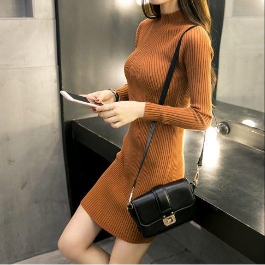 EASON SHOP^(GT7772^)連身裙短洋裝韓國 氣質復古休閒 款純色素色單色高領