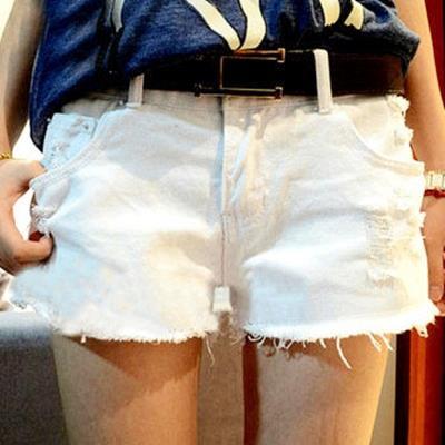 EASON SHOP GU0367  磨破洞抽鬚短褲顯瘦寬鬆大碼熱褲純色單色單寧短褲白色黑