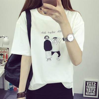 L^~2XL 人偶線條印花簡約休閒圓領短袖T恤^(三色入^)~日秀衣韓館