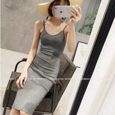 EASON SHOP^(GU0042^)長款修身包臀針織背心吊帶裙連身裙洋裝長裙彈力內搭緊