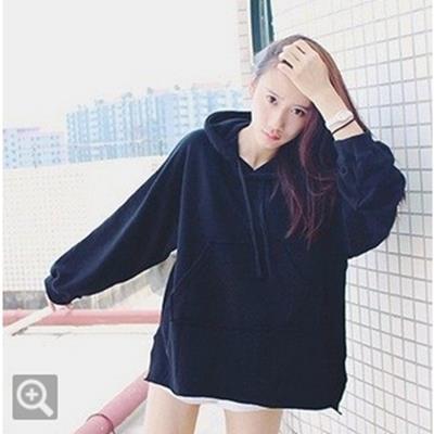 EASON SHOP GU0476 韓國BF風連帽T恤帽T長袖T恤黑色藍色女情侶簡約復古純