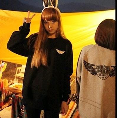 EASON SHOP GU0496 情侶裝韓國學院風絨衫寬鬆大碼純色外套圓領長袖T恤棉T大
