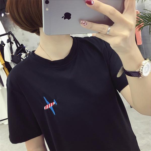 T恤~M^~XXL刺繡紅白小飛機短袖上衣 Kiwi Shop奇異果0303~SOV6173