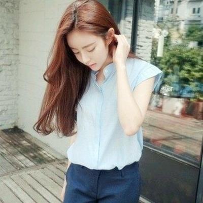 EASON SHOP GU0157   小清新休閒女韓學院風款棉麻短袖無袖立領中山領藍白襯