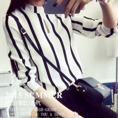 EASON SHOP GU0161 秋裝 大碼女裝黑白條紋雪紡上衣 潮女長袖內搭衫白襯衫立