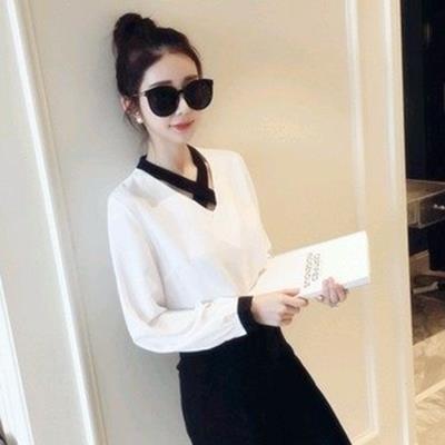 EASON SHOP^(GU0190^)秋 V領交叉 長袖寬鬆純色套頭雪紡衫白色襯衫潮黑色