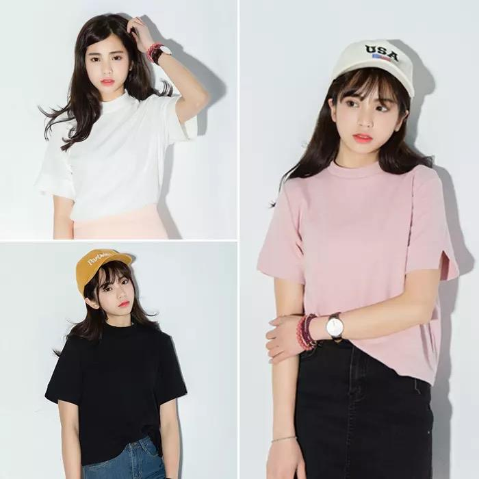纯色圓領短袖T恤~6色