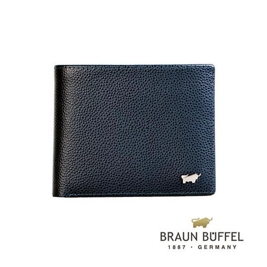 BRAUN BUFFEL 德國小金牛 HOMME~B系列4卡皮夾 藍 BF192~B315