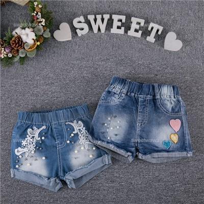 ~水娃娃 ~彩様愛心珍珠緹花牛仔短褲小熱褲 230140