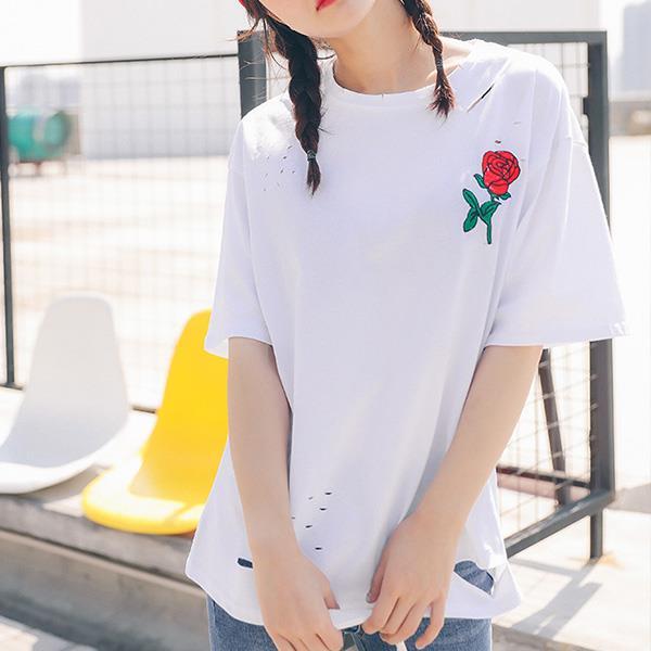 T恤~刺繡玫瑰破洞短袖上衣 Kiwi Shop奇異果0310~SPL6240~