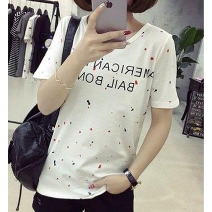 EASON SHOP GU0559  女生彩色點點潑墨英文字母字母印膠寬鬆百搭短袖T恤圓領