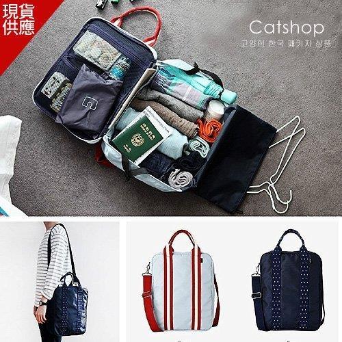 旅行袋~帆布隨身旅行袋 健身包媽媽包可固定在拉杆箱~Catsbag~26940719