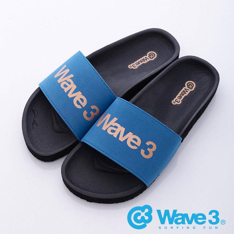 WAVE3~女~女印刷LOGO 休閒拖~藍黑16205225