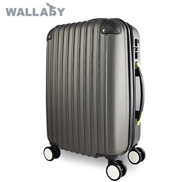 加賀皮件 WALLABY袋鼠牌 24吋~ABS撞色黑邊直條伸縮層霧面行李箱   鐵灰色