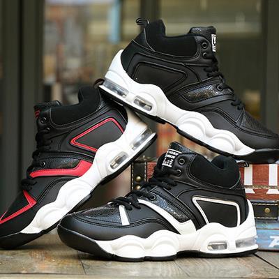 撞色線條繫帶PU超輕緩震氣墊高筒 籃球鞋休閒鞋男鞋~09S1135~