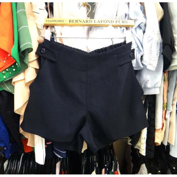 正韓SSUNNY鬆緊彈性腰側邊假釦口袋休閒短褲