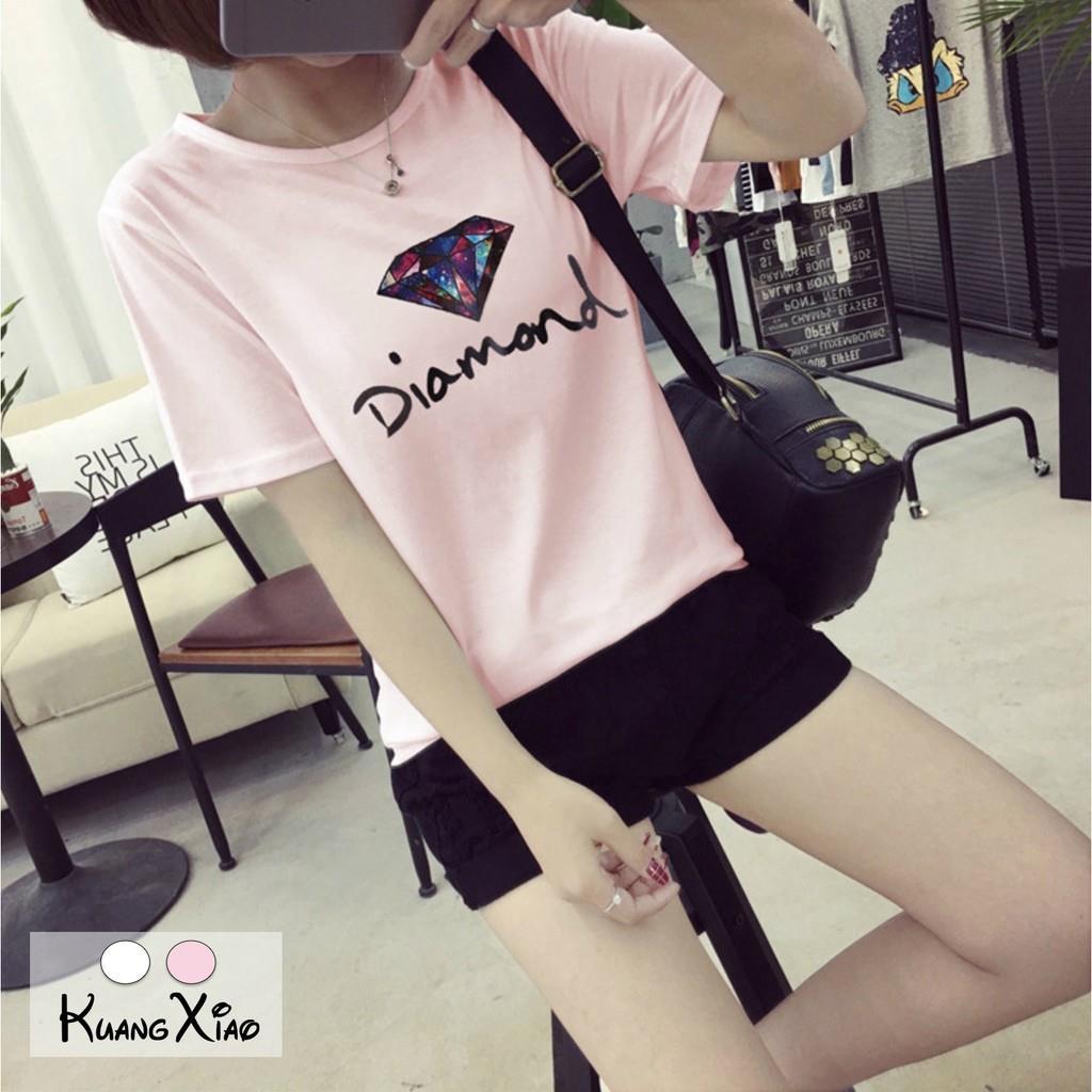 KuangXiao 彩色鑽石短袖T恤~M^~XXL共兩色~Diamond衣服 春夏 新品
