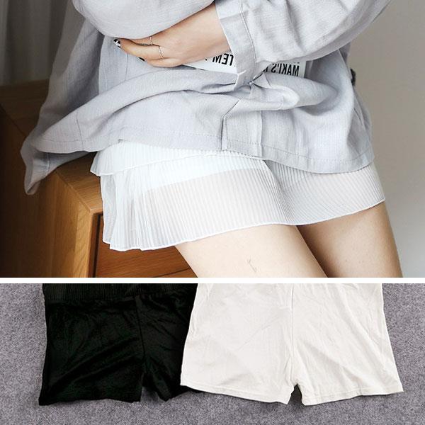 Miss wawa 防走光 安全褲 襯裙 莫代爾 彈性涼感棉質 壓摺 百摺裙 短褲 短裙