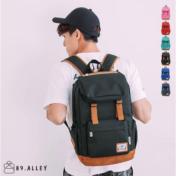 加賀皮件~89.Alley~ 品牌/加厚尼龍/麂皮 /情侶款後背包(黑色)HB89125