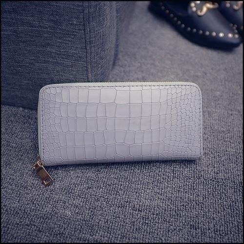 鱷魚紋單拉長款拉鏈皮夾手提包