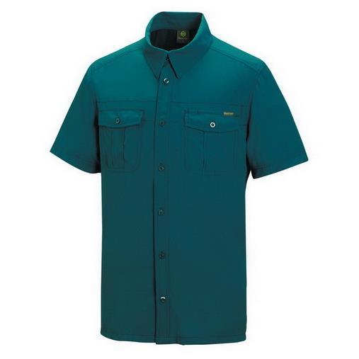 超越登山體育 山林 Mountneer 21B03~83 男 透氣抗UV短袖襯衫 土耳其藍