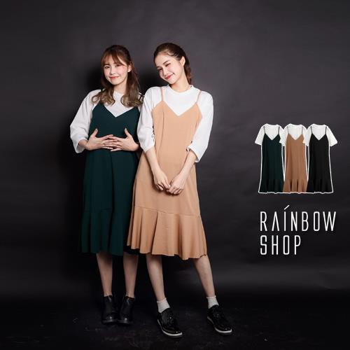 兩件式羅紋上衣 魚尾細肩洋裝~M~Rainbow~A480275~