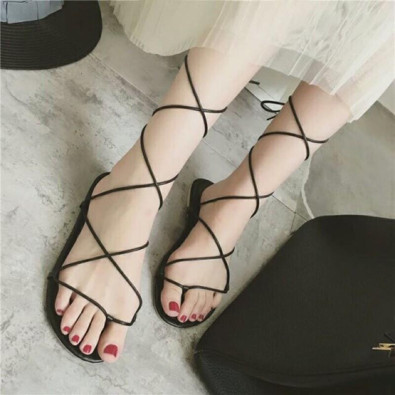 888~009 露趾交叉交錯腳踝綁帶繞帶繫帶羅馬夾腳人字平底涼拖鞋