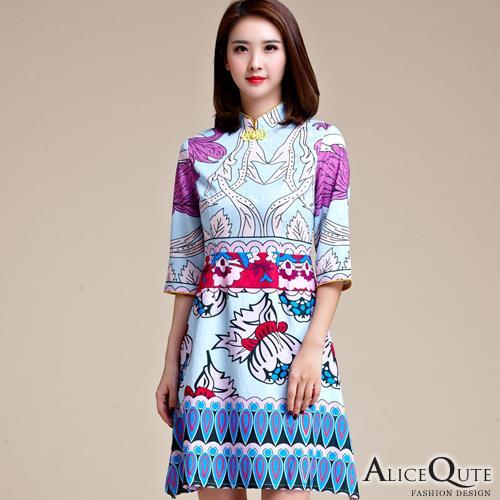 AliceQute優雅文藝風中袖唐裝漢服旗袍中國服洋裝連衣裙小禮服晚會服~天藍色~ 全