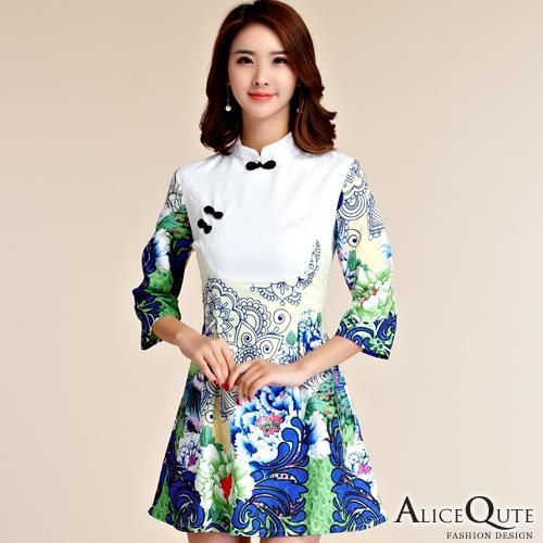 AliceQute復古宮庭風中長袖收腰唐裝漢服旗袍中國服洋裝小禮服 孔雀綠  全  ~69