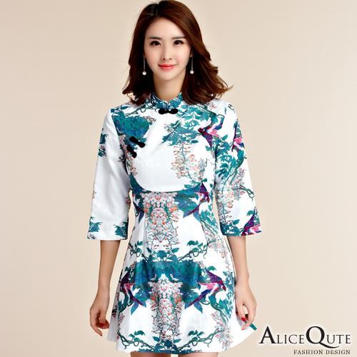 AliceQute復古中長袖收腰唐裝漢服旗袍中國服洋裝小禮服連衣裙 藍葉圖  全  ~69