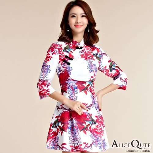 AliceQute復古中長袖收腰唐裝漢服旗袍中國服洋裝小禮服連衣裙 紅葉圖  全  ~69