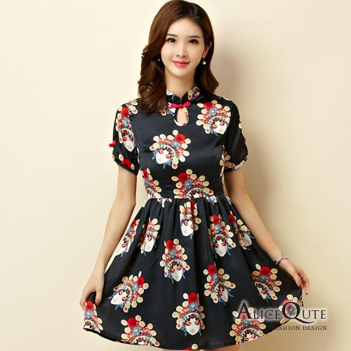 AliceQute文藝風印花中袖收腰改良版唐裝漢服旗袍中國服洋裝禮服~黑色~ 全  ~69