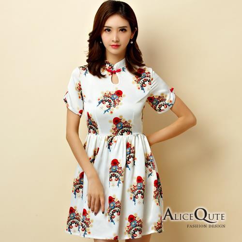AliceQute文藝風印花中袖收腰改良版唐裝漢服旗袍中國服洋裝禮服~米色~ 全  ~69