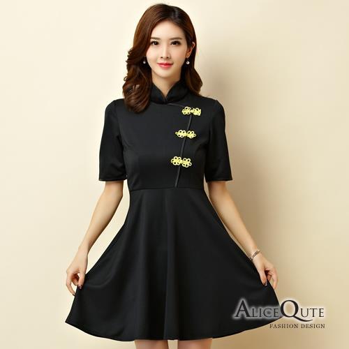 AliceQute文藝風純色中袖改良版唐裝漢服旗袍中國服洋裝禮服~黑色~ 全  ~6965