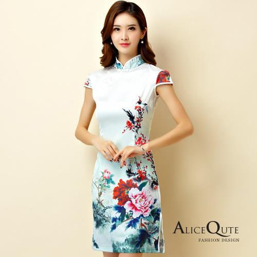 AliceQute梅花水墨畫印圖短袖唐裝漢服旗袍中國服洋裝禮服~梅花圖~ 全  ~6908